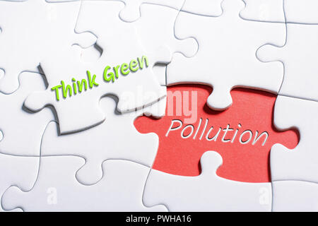 The Words Think Green And Pollution In Missing Piece Jigsaw Puzzle - Stock Image