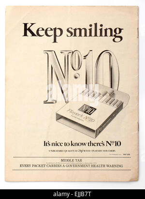 Vintage 1970's Magazine Advert for Players No 10 (Ten) Cigarettes - Stock Image