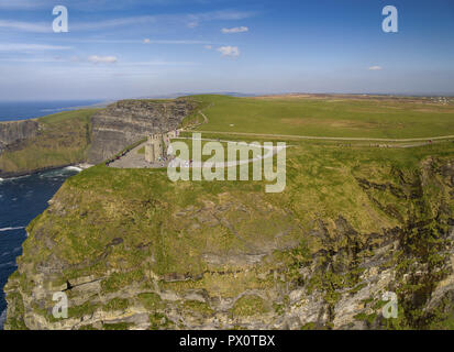 aerial view of the world famous cliffs of moher in county clare ireland. Cliffs of Moher Global Geopark has been designated as a UNESCO site aloing th - Stock Image
