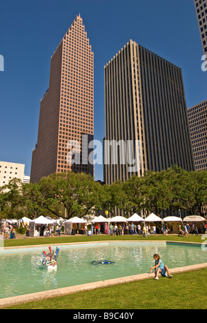 Houston Texas downtown skyline Bayou City Art Festival at fall autumn October  annual art show - Stock Image