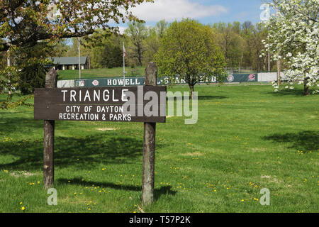 Triangle park sign. The site of the first NFL Football game is now the Howell Baseball Field in Triangle Park, Dayton, Ohio, USA. Ohio Historical Mark - Stock Image
