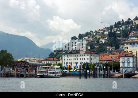 Harbor of Locarno, Ticino, Switzerland. - Stock Image