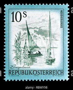 Austrian definitive postage stamp (1973) : Neusiedlersee - Stock Image