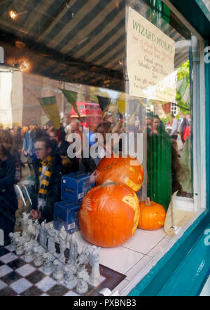 Wirksworth, UK. 20th Oct, 2018. Wirksworth becomes Hogsmeade for the day as this town in the Peak District's hidden gem celebrates all things Harry Potter on 20 October 2018 Credit: Doug Blane/Alamy Live News - Stock Image