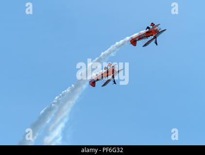 Wing walkers at the Eastbourne Airshow 2018 - Stock Image