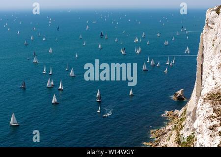 Start, The Needles, Alum Bay, Headen Warren, spectators, Round the Island Yacht Race, Cowes, Isle of Wight,England, 29 June, 2019, - Stock Image