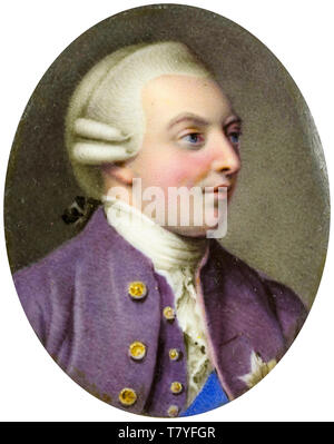 Miniature Portrait of George III (1738-1820), King of England, c. 1760 - Stock Image