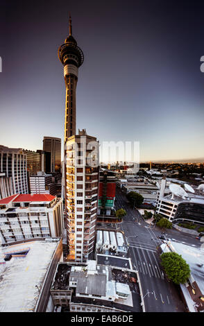 Skytower, Auckland. 4 image stitch vertical panorama - Stock Image