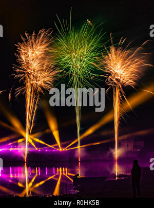 Leeds Castle, Kent, England, UK. 4th November 2018.  The biggest firework display in the South East of England, Leeds Castle puts on a spectacular show.  Credit: Tony Watson/Alamy Live News - Stock Image