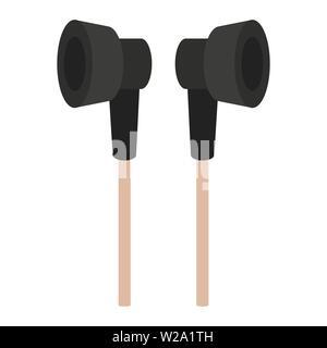 Vacuum headphones flat icon, audio equipment vector illustration isolated on white background - Stock Image