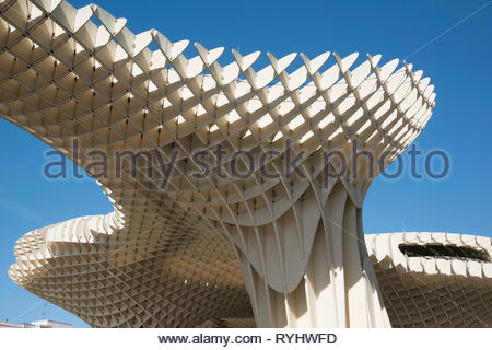 Underneath the Metropol Parasol Seville - Stock Image