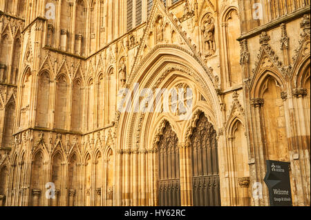 The West front of York Minster in the historic city centre. - Stock Image