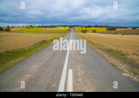 Side road and cultivation fields. Villamanrique de Tajo, Madrid province, Spain. - Stock Image
