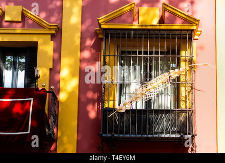 A palm sculpture in the window of a building in Seville - Stock Image