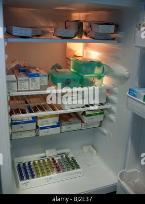 Fridge Full of Veterinary Pharmaceuticals - Stock Image