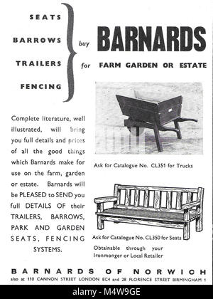 Barnards of Norwich outdoor furniture and farm equipment suppliers advert, advertising in Country Life magazine - Stock Image