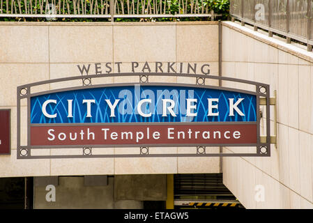 City Creek South Temple Underground Parking Entrance, Salt Lake City, Utah - Stock Image