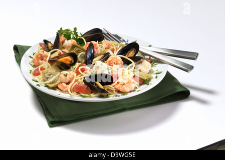 mussels  pasta - Stock Image