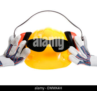Stock image of protective wear isolated on white, safety is cool - Stock Image