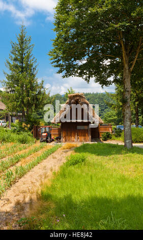 Former Yamamo Fumishiro family stable (moved from Magari area, circa 19th c.) in Ogimachi gassho style village. - Stock Image