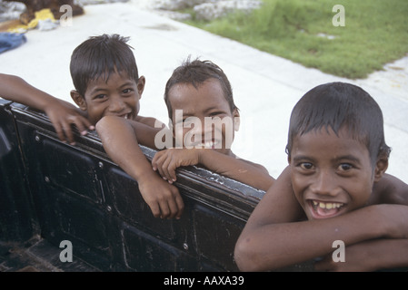 Marshallese Kids smiling and laughing - Stock Image