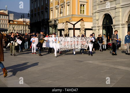 Local kids team protesting on central square that they do not have a playing field for the local baseball team, in Trieste, Italy - April 16, 2019 - Stock Image