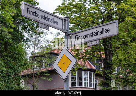 Road sign. Finckensteinallee street sign in Berlin-Lichterfelde - Stock Image