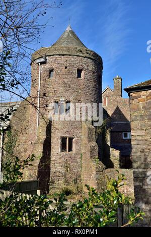 Tower of the ancient Tiverton Castle, Devon, UK - Stock Image