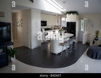 kitchen, dining, cooking, island, modern, contemporary, cabinets, house, home - Stock Image