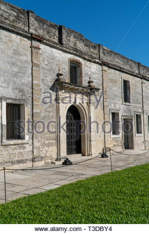 Doorways to room off the courtyard at the Castillo de San Marcos, a Spanish fortification at St. Augustine, Florida USA - Stock Image