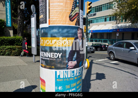 Campaign poster for Vancouver mayoral candidate Kennedy Stewart.  Vancouver civic elections 2018. - Stock Image