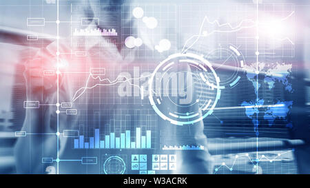 Business intelligence BI Key performance indicator KPI Analysis dashboard transparent blurred background. - Stock Image