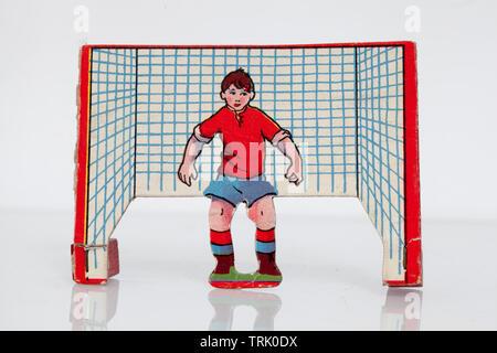 Vintage Blow Football Game Goalkeeper - Stock Image
