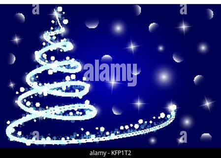 Christmas card background with a Christmas tree on a blue background - Stock Image