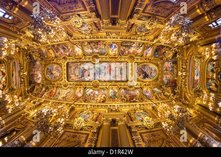 Paris: Fish eye view of Opera Garnier's beautiful ceiling - Stock Image