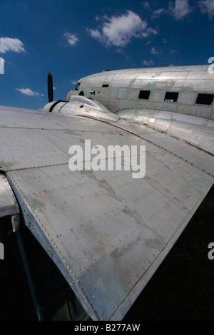 Derelict aircraft, C-47 Skytrain of ex JRV in Otocac, Croatia, wing panels - Stock Image