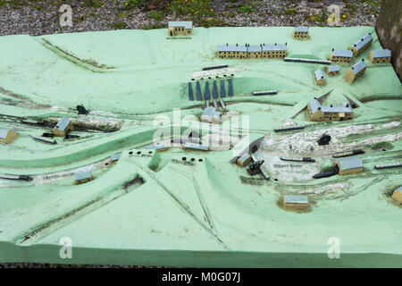 Information board in the form of a 3D relief model  at Bugsworth Basin on the Peak Forest canal near Whaley Bridge. - Stock Image