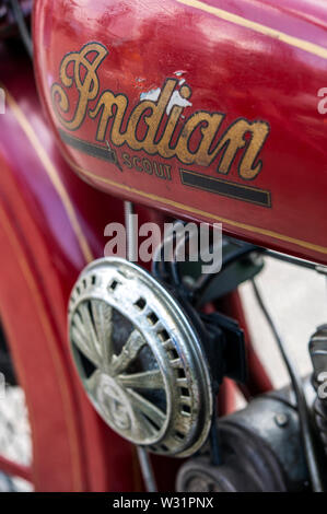 Detail of a vintage Indian Scout American motorcycle - Stock Image