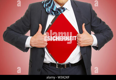 Man in suit opens shirt and carries German slogan Sicherheit (security) underneath as concept - Stock Image