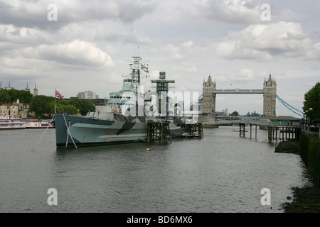 HMS Belfast, Southwark, River Thames, London - Stock Image