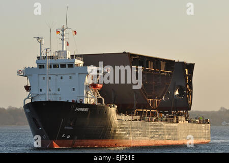 Heavy Load Carrier Papenburg loaded with cruiseship-sections bound for Meyer shipyard - Stock Image