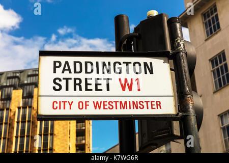Paddington Street London W1, Paddington Street London sign, Paddington Street W1 London UK England, Paddington Street London, Paddington Street W1 - Stock Image