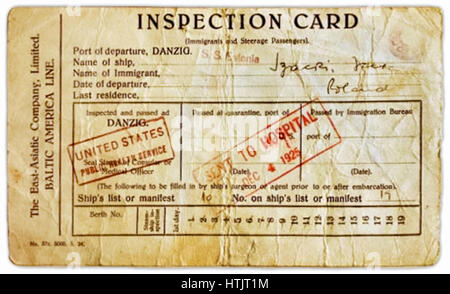 "Immigration ""Inspection Card"" issued to migrants arriving at Ellis Island immigrant inspection depot for medical - Stock Image"