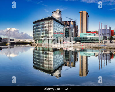 2 November 2018: Manchester, UK - Media City UK reflected in the Manchester Ship Canal, on a perfect autumn day. - Stock Image