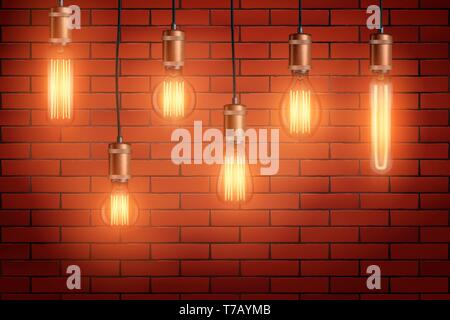 Decorative Retro design edison light bulb set on brick wall background. Vintage and antique style with copper for loft and cafe. Switch On. Vector Ill - Stock Image