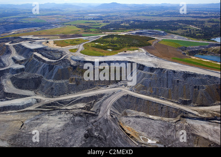 Aerial view of open cut coal mine Hunter Valley NSW Australia - Stock Image