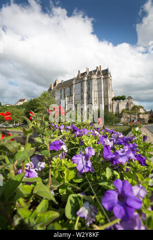 Chateaudun, France. Picturesque summer view of the River Loir, with Chateau de Chateaudun in the background. The scene was captured from the Rue Saint - Stock Image