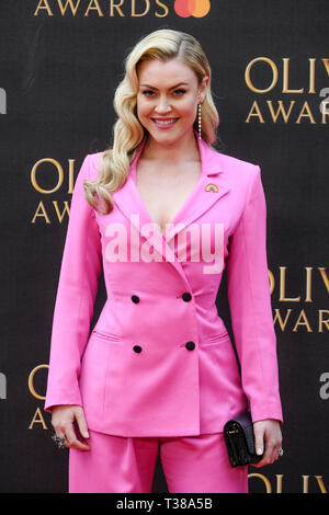 London, UK. 7th Apr 2019. Camilla Kerslake poses on the red carpet at the Olivier Awards on Sunday 7 April 2019 at Royal Albert Hall, London. Picture by Credit: Julie Edwards/Alamy Live News - Stock Image