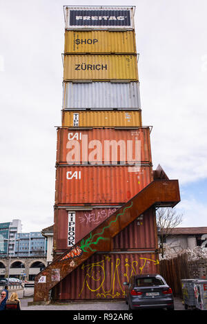 Zurich, Switzerland - March 2017: Freitag Shop in Zurich made of containers. Freitag Shop belongs to the Freitag bag company, which produces bags and  - Stock Image