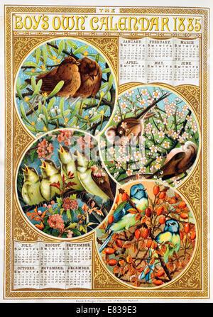 Lithograph The Boys Own Calendar 1885 - Stock Image